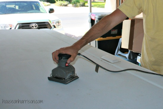 Sanding the ABS roof