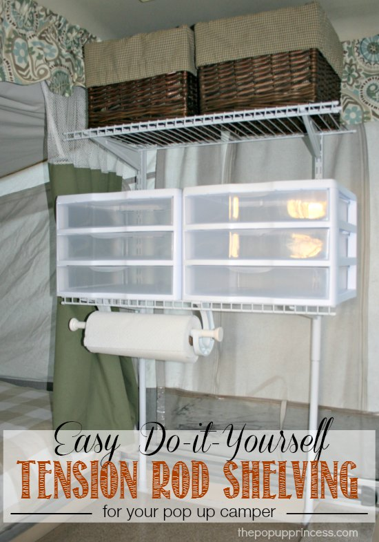Pop Up Camper Mods: Tension Rod Wire Shelving - The Pop Up Princess