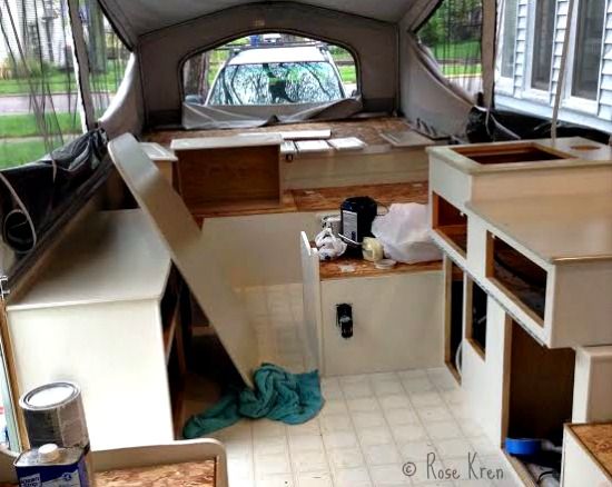 Painting Pop Up Trailer Cabinets