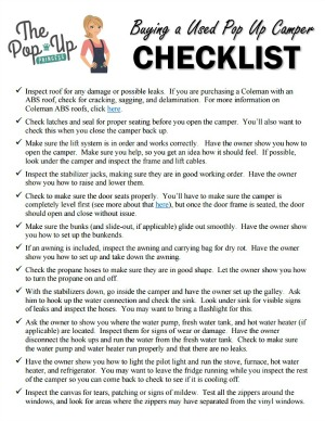 graphic regarding Printable Rv Setup Checklist called Purchasing a Applied Pop Up Camper - The Pop Up Princess