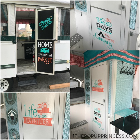 I Used Chalkboard Contact Paper To Cover Our Camper Door And Then My Handy Silhouette Machine Make Cute Camping Themed Vinyl Stickers
